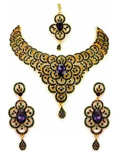 Imperial diamantes studded gold plated brass metal necklace with stones work. Item code : JPD82199 http://www.bharatplaza.com/new-arrivals/jewellery.html