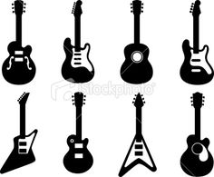 Guitar Silhouettes Royalty Free Stock Vector Art Illustration