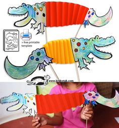 Easy folded paper crafts for kids. Crocodiles-from-the-Nile Kids Crafts, Arts And Crafts, Paper Crafts, Craft Kids, Art Crocodile, Diy Y Manualidades, Creative Workshop, Crocodiles, Animal Crafts