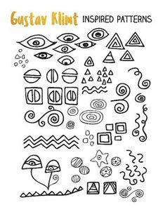 Gustav Klimt Inspired Pattern Sheet and Coloring Page