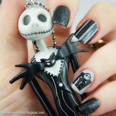 Decoración de uñas / nail art para Halloween - The Nightmare before chistmas o El extraño mundo de Jack
