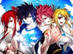 anime: fairy tail erza, gray, natsu, lucy