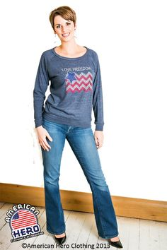 Patriotic rhinestone Love freedom chevron eco-hether slouchy pullover exclusively by American Hero Clothing
