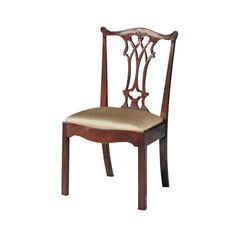 Carved Polished Mahogany Finish Chippendale Straight Leg Side Chair, Neutral Uph