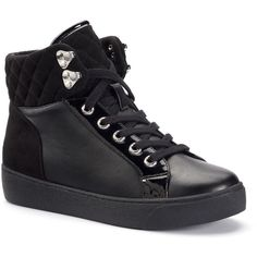 Juicy Couture Shawnie Women's High-Top Sneakers ($50) ❤ liked on Polyvore featuring shoes, sneakers, black, black sneakers, quilted sneakers, black lace up shoes, juicy couture sneakers and black high top shoes