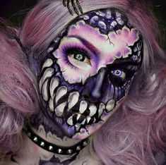maquillaje de monstruo púrpura