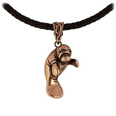 "Manatee Crafted in Marine Grade Bronze on an 18"" Leather Necklace * Read more reviews of the product by visiting the link on the image."