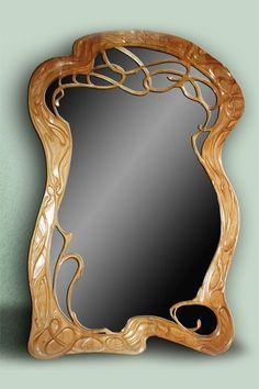 Yuri Moshans' mirror in beech wood.art nouveau