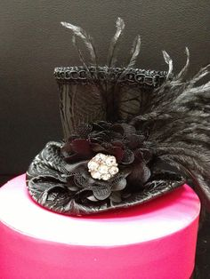 Black Brocade Mad Hatter Mini Top Hat for Dress by daisyleedesign