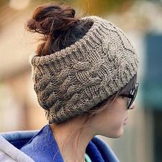 Warm Knitted Hemp Flowers Headband Shape Hat For Women