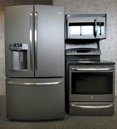 "GE's new ""slate"" appliances - sleeker than stainless steel and no fingerprints."