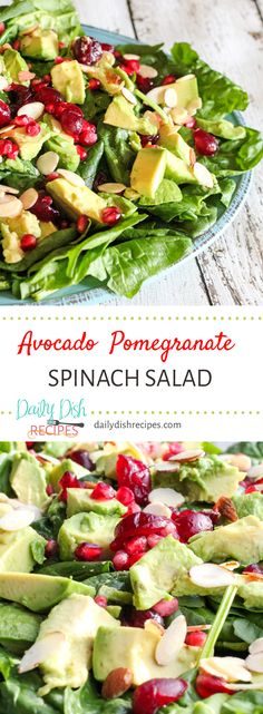 A delicious holiday salad, this Avocado Pomegranate Spinach salad not only looks festive but is absolutely delicious! I love a good spinach salad, but add in some delicious add-on's and I'm in heaven. This is the best Christmas salad! via @dailydishrecipes