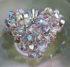 Static Swarovski Crystal Puffy Heart Shiny by HandmadeJILLry, $40.00