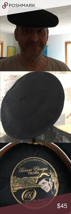 cd78413b32f39 Boinas Elosegui Tolosa Black Beret Hat Wool Vintage Black Wool used beret.  In great used