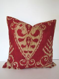 IKAT PILLOWS COVER 12x16, 12x18 or 12x20  Decorative Throw Pillows Red 12 x 20 Lumbar Throw Pillow Covers. $17.95, via Etsy.