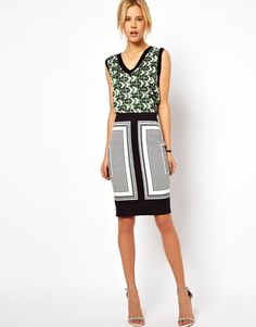 ASOS Pencil Skirt in Scarf Print- love the combo
