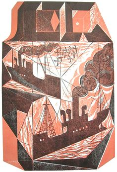 'Block Ships' by british artist Charles Shearer Collograph, 59 x cm. via St. Collagraph, Wood Engraving, Colorful Drawings, Graphic Illustration, Art Prints, Artwork, Lino Cuts, Etchings, Signs