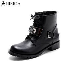 Find More Women's Boots Information about Nikbea Brand Fashion Black Ankle Boots for Women Short Lace Up Boots Buckle 2016 Women Winter Boots Autumn Ladies Shoes Flat,High Quality women winter boots,China ankle boots for women Suppliers, Cheap fashion winter boots from nikbea on Aliexpress.com