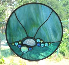 AGATES STAINED GLAS | ... Stained Glass Panel - Aqua Blue with Agate Slice and Glass Nuggets
