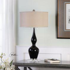 Uttermost Burilda Black Glass Table Lamp
