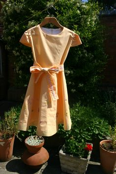 Child's Summer Dress made with Butter Plain fairtrade certified cotton fabric