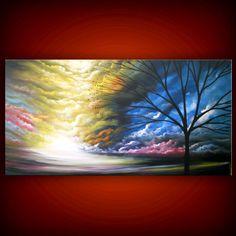 art abstract Original painting art original acrylic painting cloud large tree painting sunset 24 x 48 Mattsart. $350.00, via Etsy.