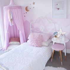 Oh My! How divine! #freddieandava #canopy #bedroom #kids #nest2me #lilac Available to Order at www.nest2me.com (limited numbers in this colour so be quick! Other colours also available).