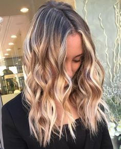 Blonde Balayage Hair With Black Roots
