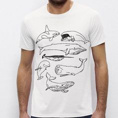 Whales Dolphin Animal Illustration by PaperTigersApparel on Etsy