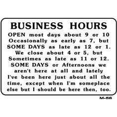 BUSINESS HOURS 7x10 Plastic Sign