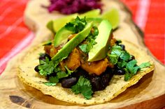 Black Bean and Sweet Potato Tacos w/ Red Cabbage Slaw - My Life and Kids