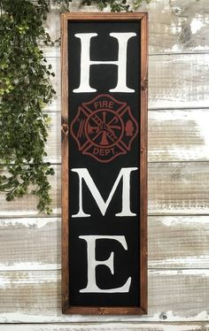 Wood Signs For Home, Home Signs, Painted Letters, Hand Painted Signs, Firefighter Home Decor, Firefighter Family, Firefighter Wedding, Firefighter Quotes, Maltese Cross Firefighter
