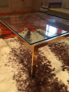 Mid-Century Glass-Top Coffee Table with Metal Frame. Bought from Kimball's Furniture in the Kimball Furniture, Hickory North Carolina, Glass Top Coffee Table, Kitchen Tops, Round Rugs, Mid Century Style, Vintage Movies, Auction, Metal