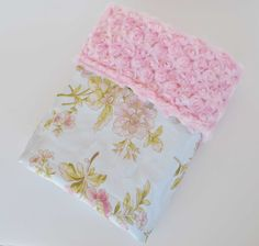 BEAUTIFUL BABY BLANKET..... Pretty floral satin with pink minky swirl....Gorgeous baby shower gift. $35.00, via Etsy. A Needs this LOVE