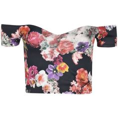 Boohoo Ebony Floral Bardot Deep Plunge Neck Crop Top (22 AUD) ❤ liked on Polyvore featuring tops, crop tops, shirts, floral shirt, floral top, floral print shirt, crop shirts and flat top