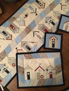 Fabric Placemats, Table Runner And Placemats, Quilted Table Runners, House Quilt Block, House Quilts, Patchwork Pillow, Applique Quilts, Small Quilts, Mini Quilts