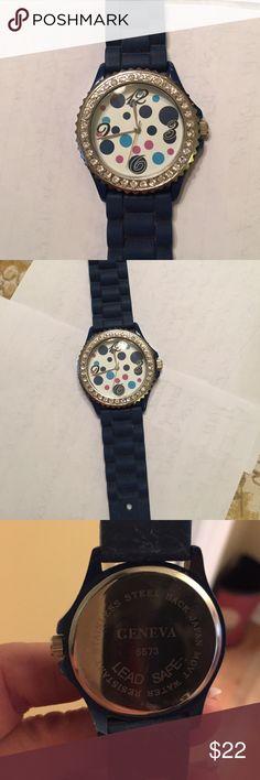 Ladies Geneva watch navy blue Ladies Geneva watch navy blue rubber watchband polkadot face with beautiful stones surrounding Geneva Accessories Watches