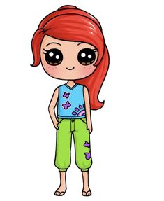 Kawaii Girl Drawings, Cute Animal Drawings Kawaii, Cute Little Drawings, Cute Cartoon Drawings, Cute Disney Drawings, Cute Easy Drawings, Cartoon Kunst, Cute Girl Drawing, Girly Drawings