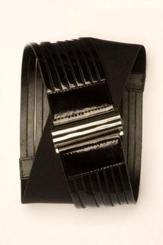 Silver Buckle Stretch Belt in Black