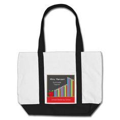 Chalkboard & colored pencils teacher canvas bag with customizable text for teacher name, grade and school.