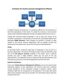 Functions of a human resource management software