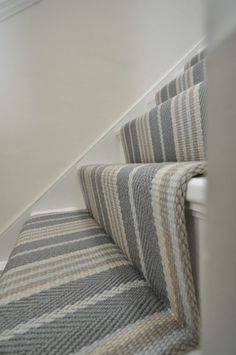Lintzford 1 – Off The Loom – Home decoration ideas and garde ideas Carpet Staircase, Hallway Carpet, Hallway Flooring, Design Living Room, My Living Room, Striped Carpets, Striped Carpet Stairs, Tartan Stair Carpet, White Stairs