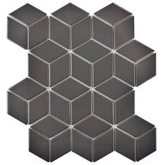 Merola Tile Metro Rhombus Matte Grey 10-1/2 in. x 12-1/8 in. x 5 mm Porcelain Mosaic Tile, Matte Grey/Low Sheen