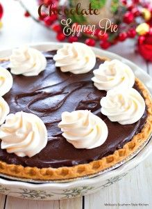 Chocolate Eggnog Pie – The custard for this creamy chocolate pie recipe is made from eggnog and yes, you can taste the rich flavor in every single bite!  The filling is made on the stovetop then poured into a pre-baked pie shell to cool.  Top it with fresh whipped cream and allow it to chill …