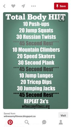 Total Body HIIT Workout | Posted by: CustomWeightLossProgram.com
