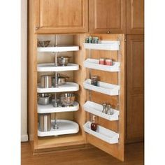Buy the Rev-A-Shelf White Direct. Shop for the Rev-A-Shelf White RAS Polymer Diameter D-Shaped Five Shelf Lazy Susan Set with Extension Shaft and save. Cabinet Door Storage, Kitchen Cabinet Organization, Cabinet Doors, Storage Shelves, Kitchen Storage, Cabinet Organizers, Kitchen Cabinets, Kitchen Pantry, Corner Cabinets