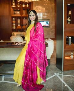 The Classic Pop- Hot Pink and Yellow Hues to make you stand out this wedding season. Be the Bright You. Indian Attire, Indian Ethnic Wear, Ethnic Style, Kurta Designs, Blouse Designs, Indian Dresses, Indian Outfits, Designer Party Wear Dresses, Indian Designer Suits