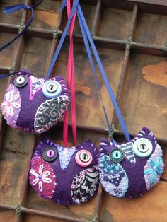 Purple Owl Ornaments Set of 3  small violet by blackwoodcottage