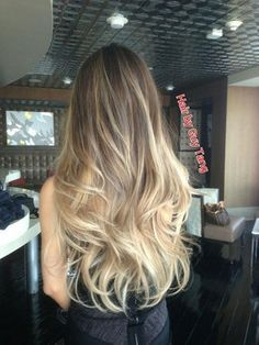 Blonde Balayage..EXACTLY HOW I WANTED!! Color and Base, Some highlights on top that blends into an ombre...Just perfect!