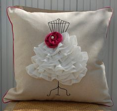 Fuchsia Flower Dress from pillow cover by secdus on Etsy Glam Pillows, Cute Pillows, Diy Pillows, Decorative Pillows, Throw Pillows, Fluffy Pillows, Cute Quilts, Small Quilts, Patchwork Quilting